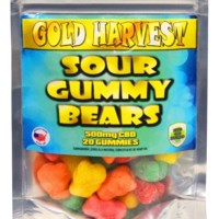 Gold Harvest CBD Sour Gummy Bears. 20 Count / 500mg total