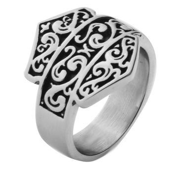New black and silver retro gothic ring for men, Stainless steel fashion finger brands rings ,Harley rings,US ring size 7-14