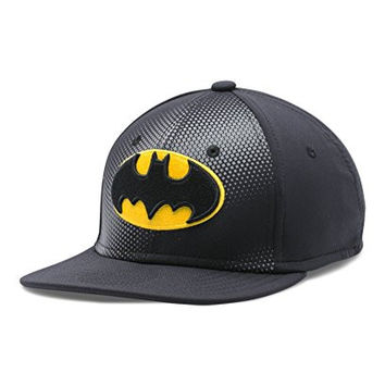 Under Armour Boys Batman Basic Stretch Cap, Black/Graphite/Taxi, Small/Medium