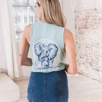 Ella Fit Neon Mint Sketchy Elephant Tank