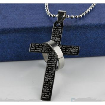 Stainless Steel Prayer Cross Pendant Ball Chain Punk Necklace For Mens