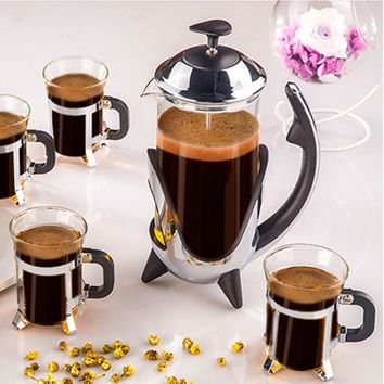 THE BENCH PRESS - French Press Glass Coffee Maker, Heat Resistant Stainless Steel