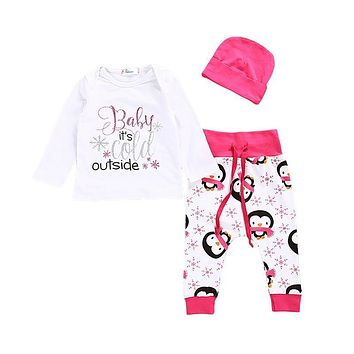 3PCS Fall Newborn Baby Girls Penguin Pink Tops T-shirt Long Pants Newborn Baby Cotton Clothes New Outfit Clothes Sets