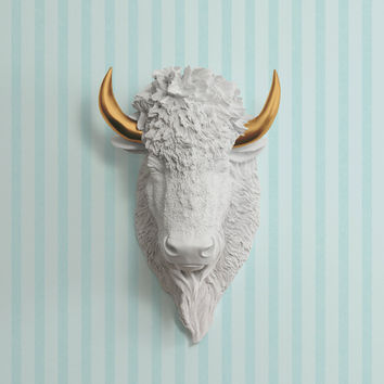 The Yellowstone White Faux Bison Head