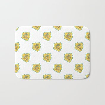 Yellow and Turquoise Rose Bath Mat by drawingsbylam
