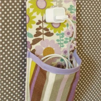 iPhone 4 iPhone 5 iPod Touch Docking station in purple grey green aqua brown offwhite floral and stripes