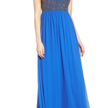 Adrianna Papell Beaded Mesh Gown | Nordstrom