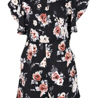 Chantel Vintage Floral Ruffle Sleeve Playsuit
