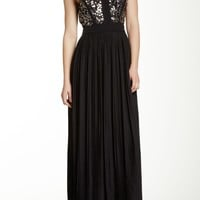 Sequin Embellished Pleated Skirt Silk Gown