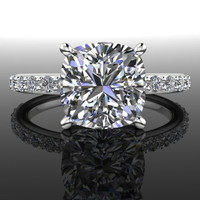 Forever Brilliant Moissanite and Diamond Engagement Ring 2.86 CTW