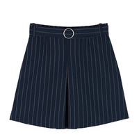 PAST PASSIONStriped Pleat Front Mini Skirt With Belt | mixxmix