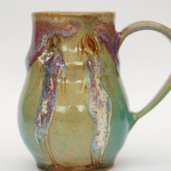 Extra Large light Green and Purple Coffee Mug, 20 oz, handmade ceramic Mug, Pottery coffee cup with figure.