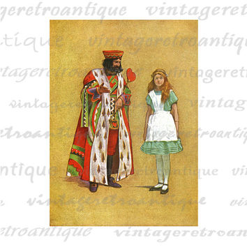 Alice and the King of Hearts Alice in Wonderland Digital Image Download Collage Sheet No.2538