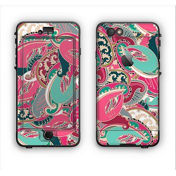 The Colorful Pink & Teal Seamless Paisley Apple iPhone 6 LifeProof Nuud Case Skin Set
