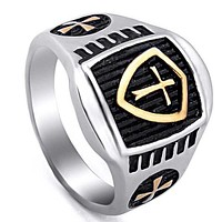 Golden Armor Shield Knight Templar Cross Ring