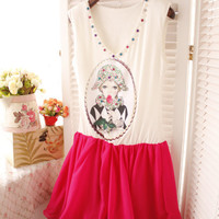 Lovely Rhinestones Decorated Lady Print Sleeveless Pleated Hoop Dress 2 Colors
