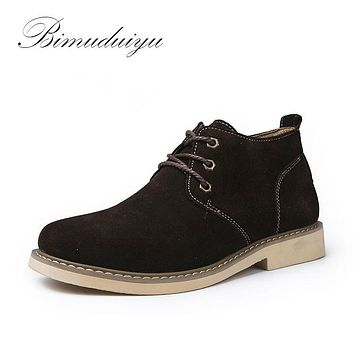 Spring Autumn Winter Suede Genuine Leather Men's Army Boots Casual Flat New Snow Shoes
