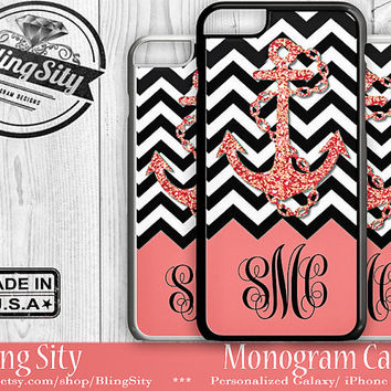 Monogram iPhone 5C 6 Plus Case iPhone 4S 5S Case Ipod 4 5 6 Coral Peach Anchor Chevron Personalized Cell Phone Case Zig Zag