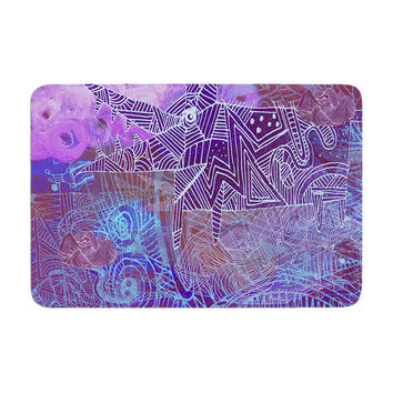 "Marianna Tankelevich ""Abstract With Wolf"" Purple Illustration Memory Foam Bath Mat"