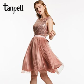 Tanpell scoop backless cocktail dress pink sleeveless knee length a line gown cheap women sequined pleats short cocktail dresses