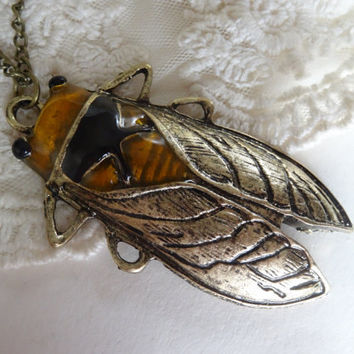1- Cicada Insect Necklace Large Locust Bug Vintage Style Insect Bronze Painted Bug Pendant Finished Necklace