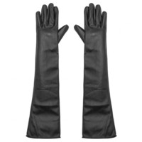 Long Leather Gloves in Black