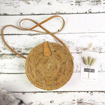 Summer Vintage Handmade Crossbody Leather Bag Round Straw Beach Bag Girls Circle Rattan bag Small Bohemian Shoulder bag