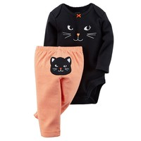 Carter's Halloween Black Cat Bodysuit & Striped Pants Set - Baby Girl, Size: