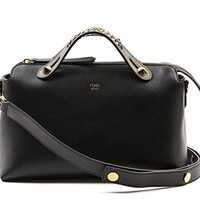 Wiberlux Fendi Women's Chain Strap Accent Zip-Top Real Leather Bag