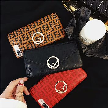 FENDI classic double F letter print card iPhone X mobile phone case cover