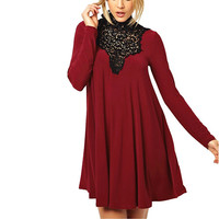 Wine Red Lace Halter Long-Sleeve Dress