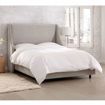 Skyline Furniture Velvet Light Grey Swoop Arm Wingback Bed | Overstock.com Shopping - The Best Deals on Beds