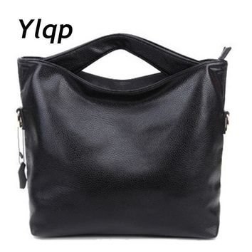 Women Solid Color Patent Leather Bucket Tote With Unique Handle Design