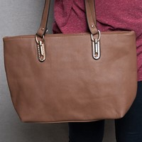 Lucky 21 Pebbled Faux Leather Tote Handbag With Rhinestone Detail - Tan