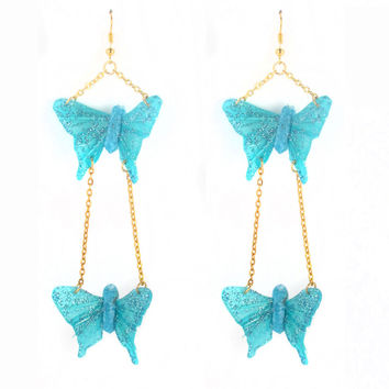 Double Mini Butterfly Drop Earrings - 50% OFF