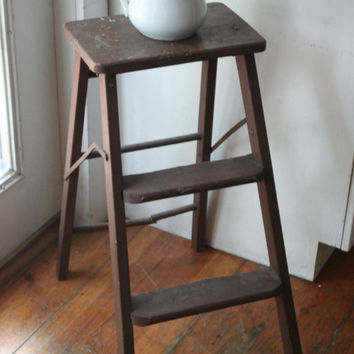 Antique Farmhouse Red Wooden Ladder, Step Stool