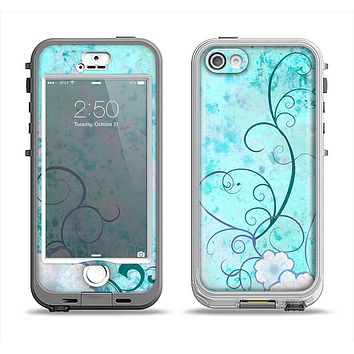 The Subtle Blue & Pink Grunge Floral Apple iPhone 5-5s LifeProof Nuud Case Skin Set