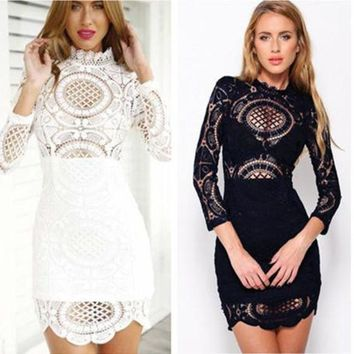 Women Black Vintage Party Evening Elegant Midi Dress Girls White Lace Embroidery Long Sleeve Crotched Dresses