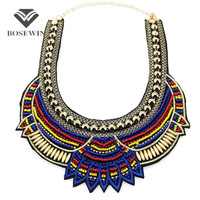 Fashion Hand Made Ethnic Choker Necklace Bib Collares Multicolor Beads Boho Statement Jewelry Women Accessories CE3581