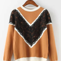 V-Cut Scallop Lace Patchwork Knitted Sweater