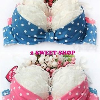 Japan ~ Tokyo Cute 32/70B 34/75B 36/80B Polka Dot Bow Bra Panty SET 2 Colors