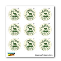 CA California Republic Travel Stamp Seal - Set of 9 Stickers