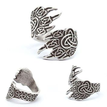 CREYCI7 1pcs Celtics Wolf Paw Ring For Men Women Norse Vikings Rings Adjustable Bear Wolf Rings Viking Jewelry RG18