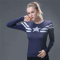 Sports 3D Print Captain America T Shirt Women Fitness Compression Shirt Female Yoga Top Long Sleeve Yoga Shirt Gym Girl T-shirt