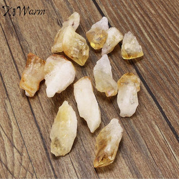KiWarm 12pcs Practical Citrine Stone Yellow Quartz Crystal Rough Points Bulk Gemstone Healing Mineral DIY Material 15mm-30mm