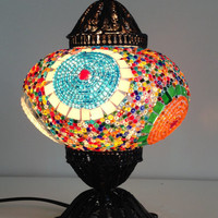 Colorful Turkish Mosaic Lamp with hand crafted copper base, Bedside night lamp, Moroccan lamp, Table light, Midcentury lamps, Copper lamp