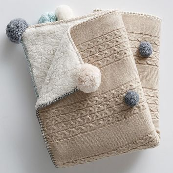 Cable Knit Pom Pom Baby Blanket