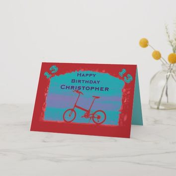 Happy 13th Birthday Greeting Card, Red Bicycle Card