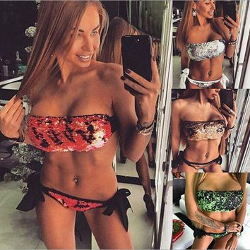LMFON Sequins bikini strapless two-piece outfit