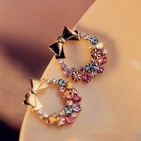 New Fashion Women Lady Elegant Crystal Rhinestone Ear Stud Earrings Gift 1pair